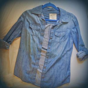 Arizona Denim Jean Chambray Button Up Shirt XS
